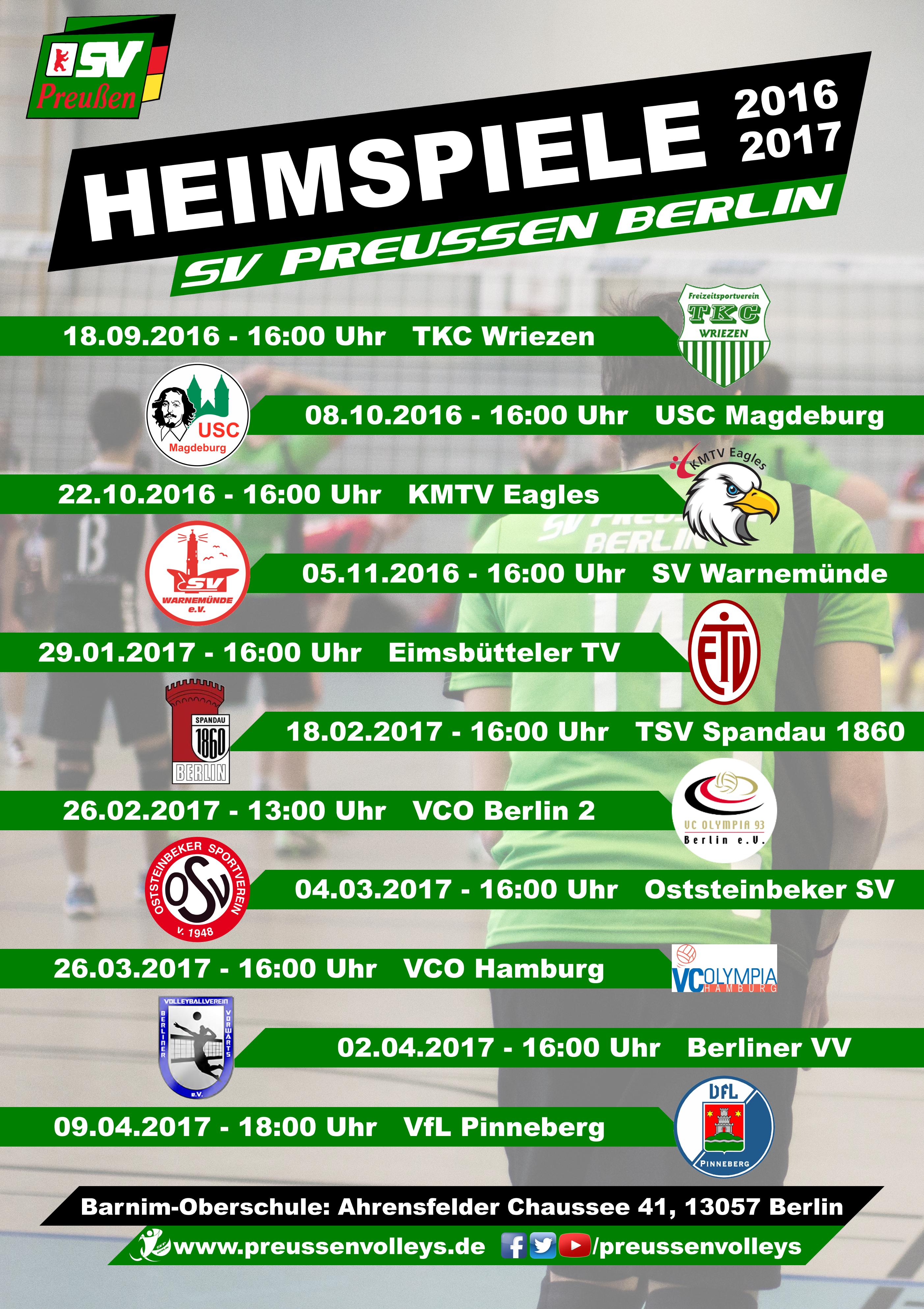 Heimspiele Dritte Liga Nord 2016/17